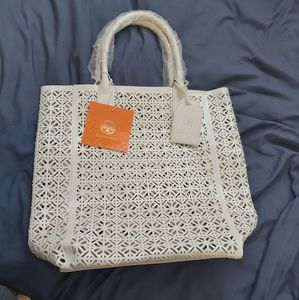 Tory Burch White Perforated PVC Tote
